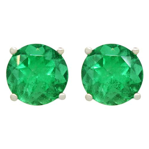 Big Round Emeralds Stud Earrings in 18K White Gold Classic Prong Setting