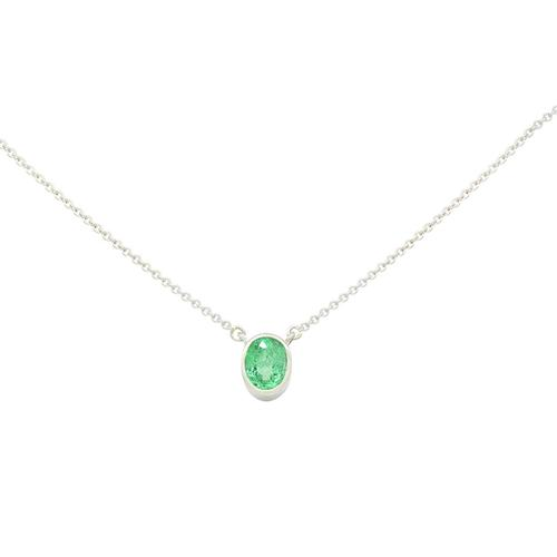 Small Bezel Setting Solitaire Emerald Necklace with Oval Shape Natural Emerald