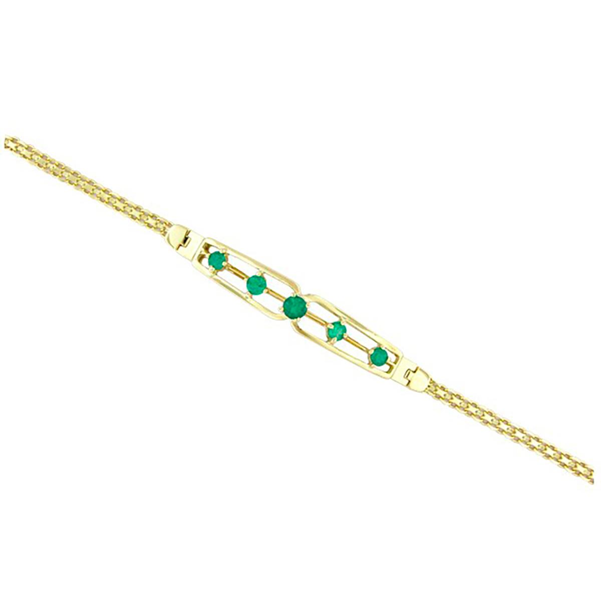 18k-yellow-gold-emerald-bracelet-with-5-round-cut-natural-emeralds