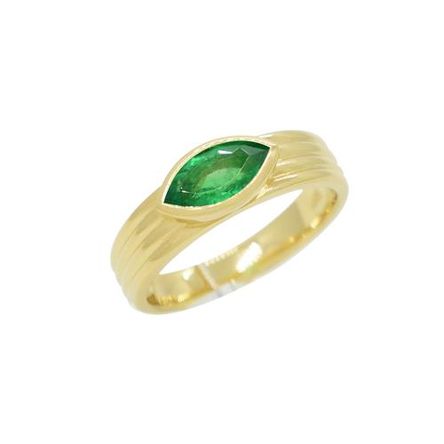 18K Gold Solitaire Emerald Ring with Marquise Shape Natural Emerald