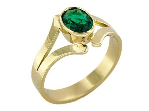 Bezel set emerald